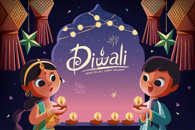 Diwali children holding oil lamps with hanging lanterns in the starry night background