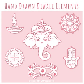 Diwali collection of hand-drawn elements