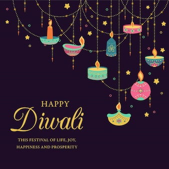 Diwali colorful background with decorative candles