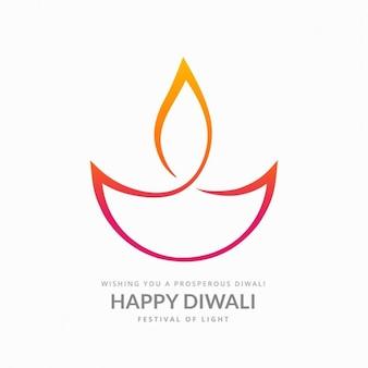 Artistico diya diwali su sfondo bianco