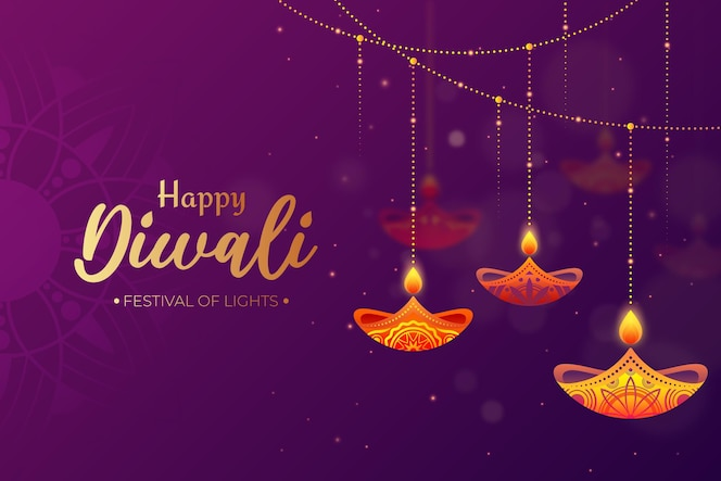 Diwali concept in flat design