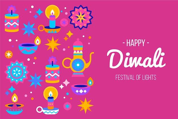 Diwali concept in flat design