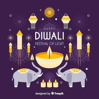 Diwali concept with flat design background