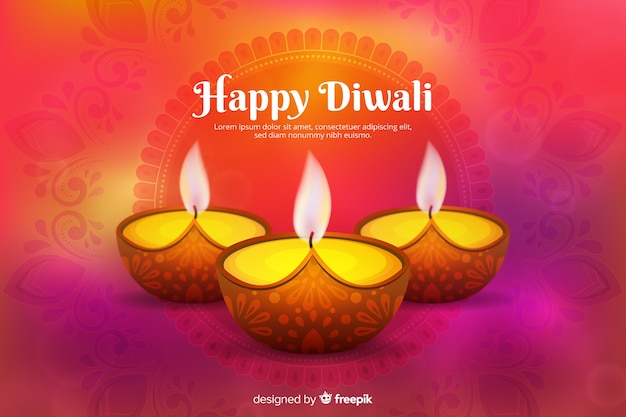Diwali concept with realistic background