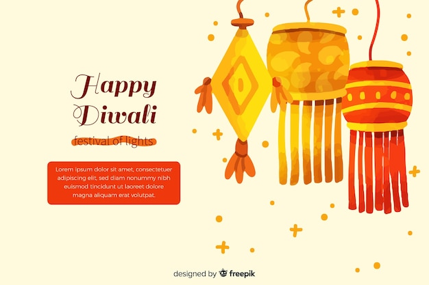 Diwali concept with watercolor background