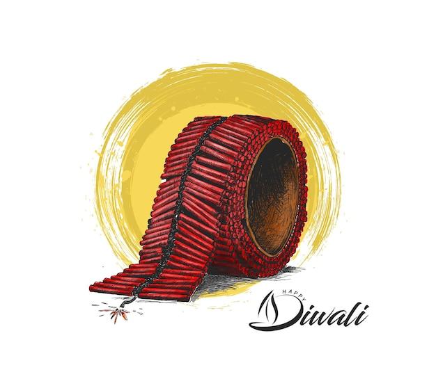 ディワリクラッカー、手描きスケッチベクトルイラスト。