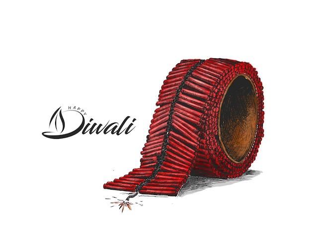 Diwali crackers,hand drawn sketch vector illustration.