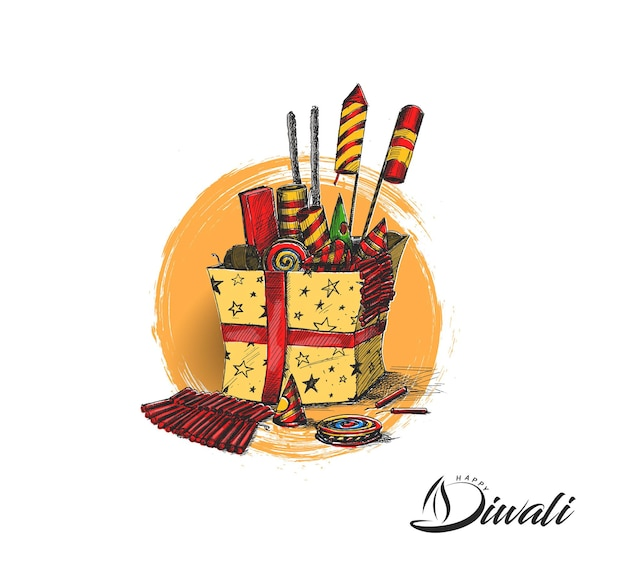 Diwali crackers with gift box, hand drawn sketch vector illustration.