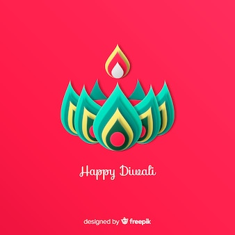 Diwali decorated background in  paper style