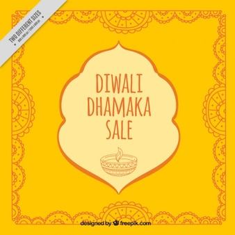 Diwali decorative yellow background with sketches