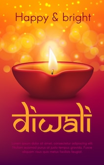 Diwali or deepavali indian holiday diya lamp.  hindu religion light festival greeting with oil lamp or candle lantern with burning fire flame, gold sparkles and bokeh lights