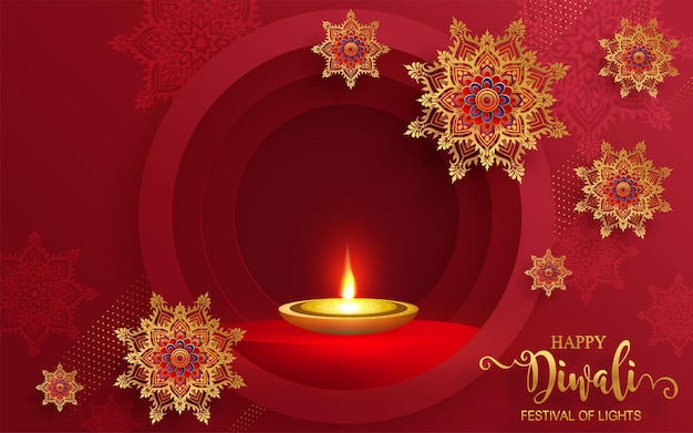 ディワリ、ディーパバリ、またはディパバリは、金のディヤがパターン化され、紙の色の背景にクリスタルが描かれたインドの光の祭典です。 Premiumベクター