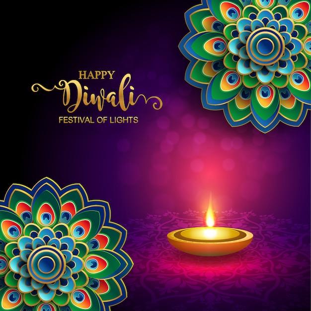 Дивали, дипавали или дипавали фестиваль огней индии с золотым дия рисунком и кристаллами на бумаге цвет фона.