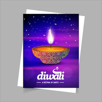 Diwali design blue background and typography vector