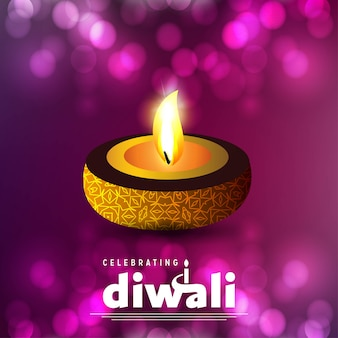 Diwali design purple background and typography vector
