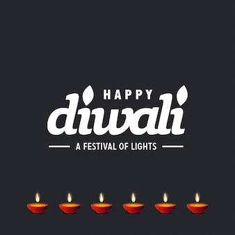 Diwali design with dark background and typography vector