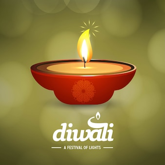 Diwali design with green background and typography vector