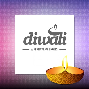 Diwali design with light background and typography vector