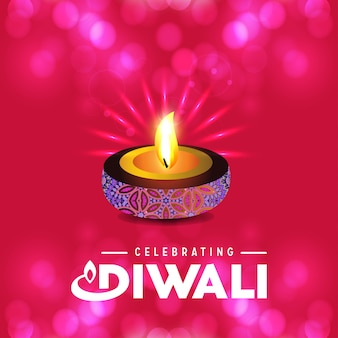 Diwali design with pink background and typography vector