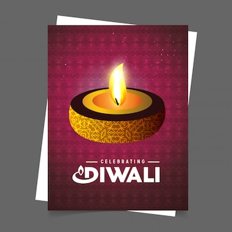 Diwali design with purple background and typography vector