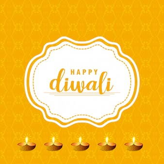 Diwali design with yellow background and typography vector