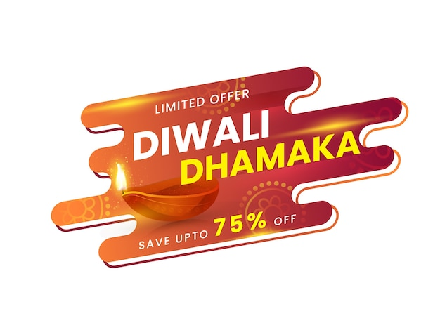 Diwali dhamaka poster design with discount offer and lit oil lamp (diya) on abstract white background.