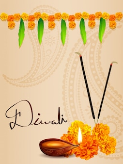 Diwali diya background with flowers and leaves