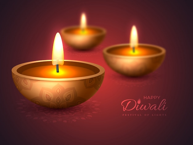 Diwali diya - oil lamp. holiday design.