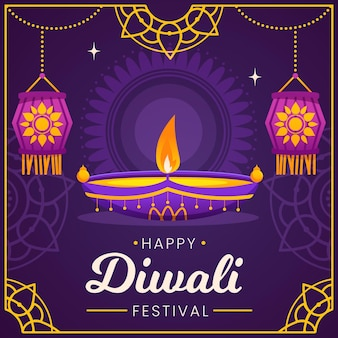 Diwali event with candle flat design