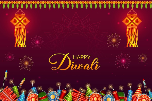 Diwali festival background. hindu festive greeting card. lantern, crackers, garlands. deepavali or diwali festival of lights. happy indian holiday.