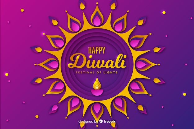 Diwali festival background in paper style