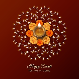 Diwali festival card with diya lamp, flowers and rangoli ornament formed of garland of light bulbs
