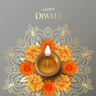 Diwali festival card with diya lamp and marigold flowers