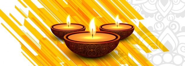 Diwali festival celebration oil lamp header or banner