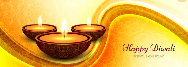 Diwali festival celebration wave banner or header
