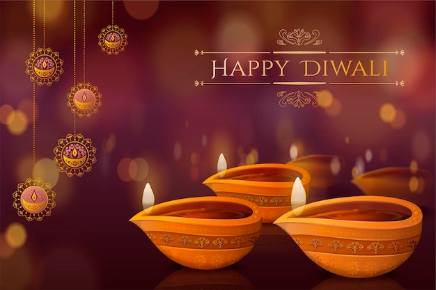 Diwali festival design with diya and hanging decorations on bokeh background