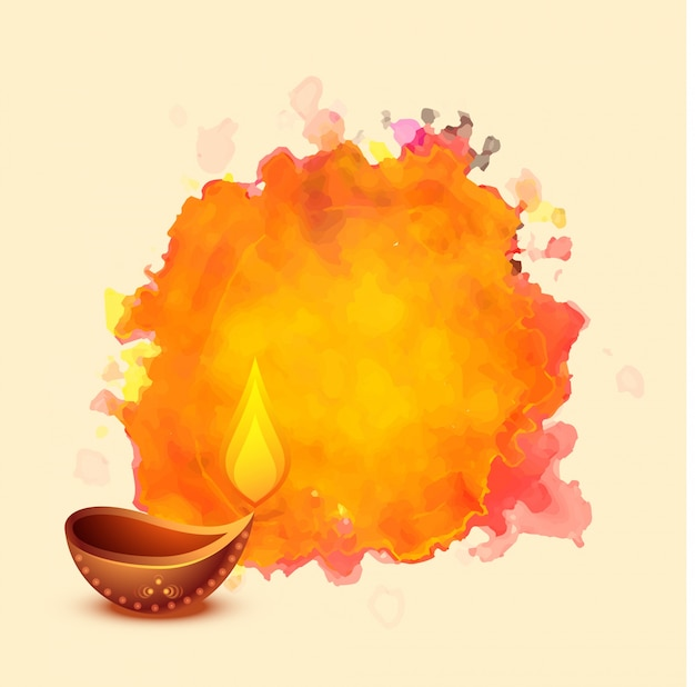 Diwali festival diya on watercolor background