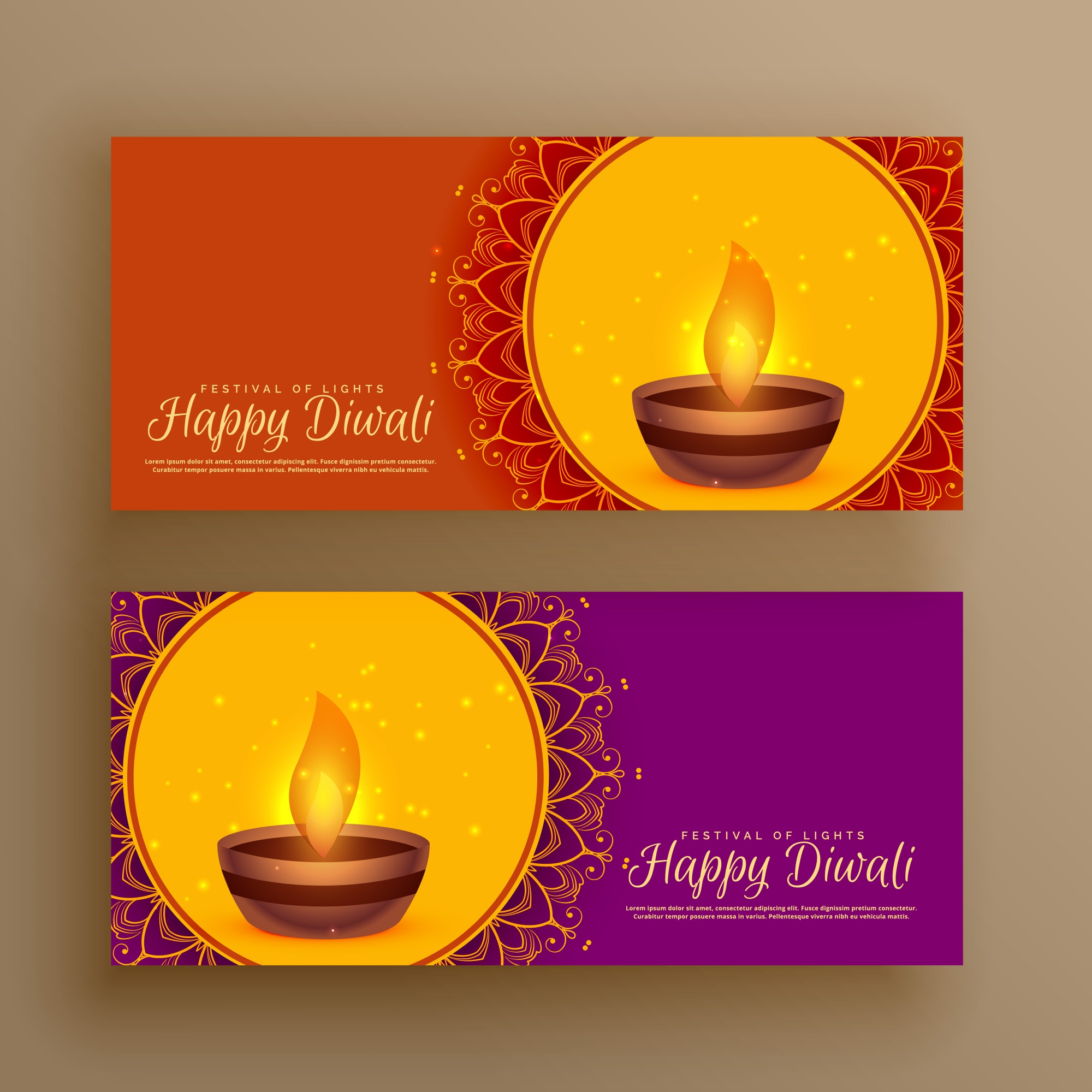 Diwali festival greeting banners vector background