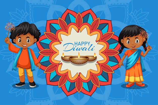 Diwali festival greeting card with kids and candle