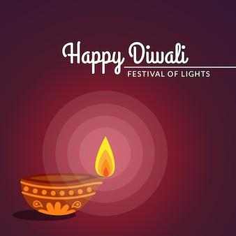 Diwali festival greeting diya