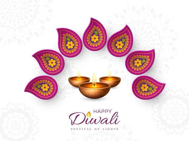 Diwali festival holiday design with paper cut style of indian rangoli and diya - oil lamp. purple color on white background, vector illustration.