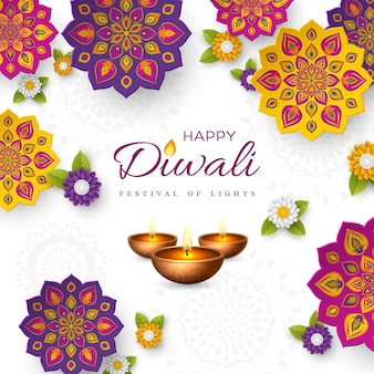 Diwali festival holiday design with paper cut style of indian rangoli, flowers and diya - oil lamp. white color background, vector illustration.