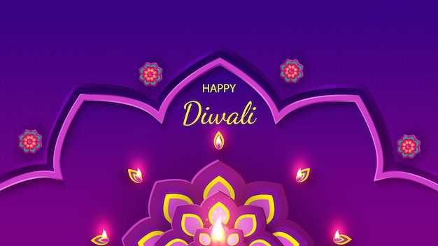 Diwali festival holiday design with paper cut style of indian rangoli and flowers.