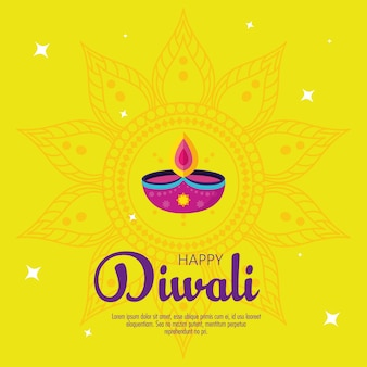 Diwali festival holiday with candle decoration and mandala on yellow background.