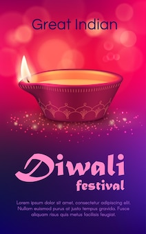 Diwali festival of light  design with diya lamp. indian holiday of hindu religion oil lamp or lantern made of red clay with rangoli decoration, paisley flower ornament, burning fire, pink bokeh