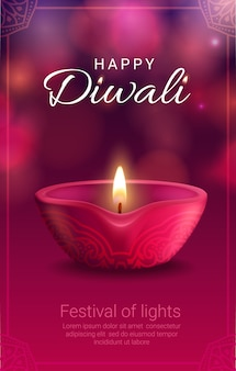 Diwali festival of light with indian hindu religion diya lamp.