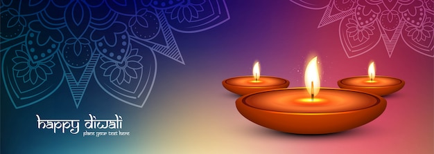 Diwali festival lights poster or banner colorful