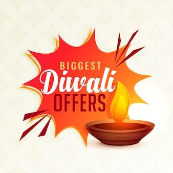 Diwali festival offer banner with diya