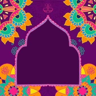 디 왈리 축제 rangoli 인도 프레임