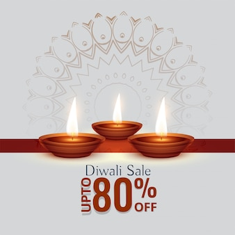Diwali festival sale background with three diya
